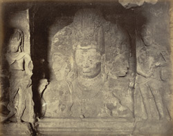 Heads of Brahma, Shiva and Vishnu. Cave of Elephanta